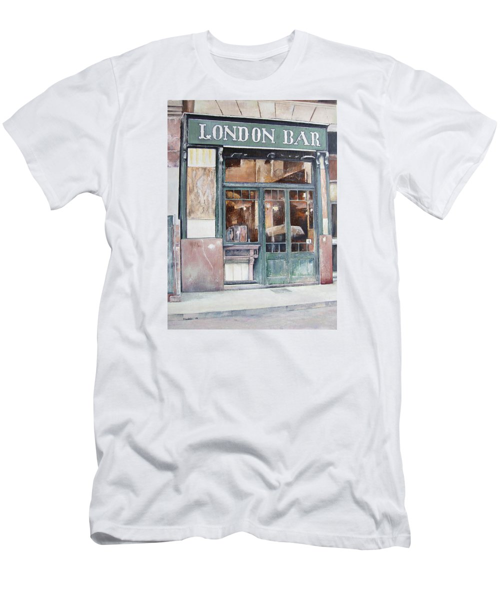 London T-Shirt featuring the painting London bar-Barcelona by Tomas Castano