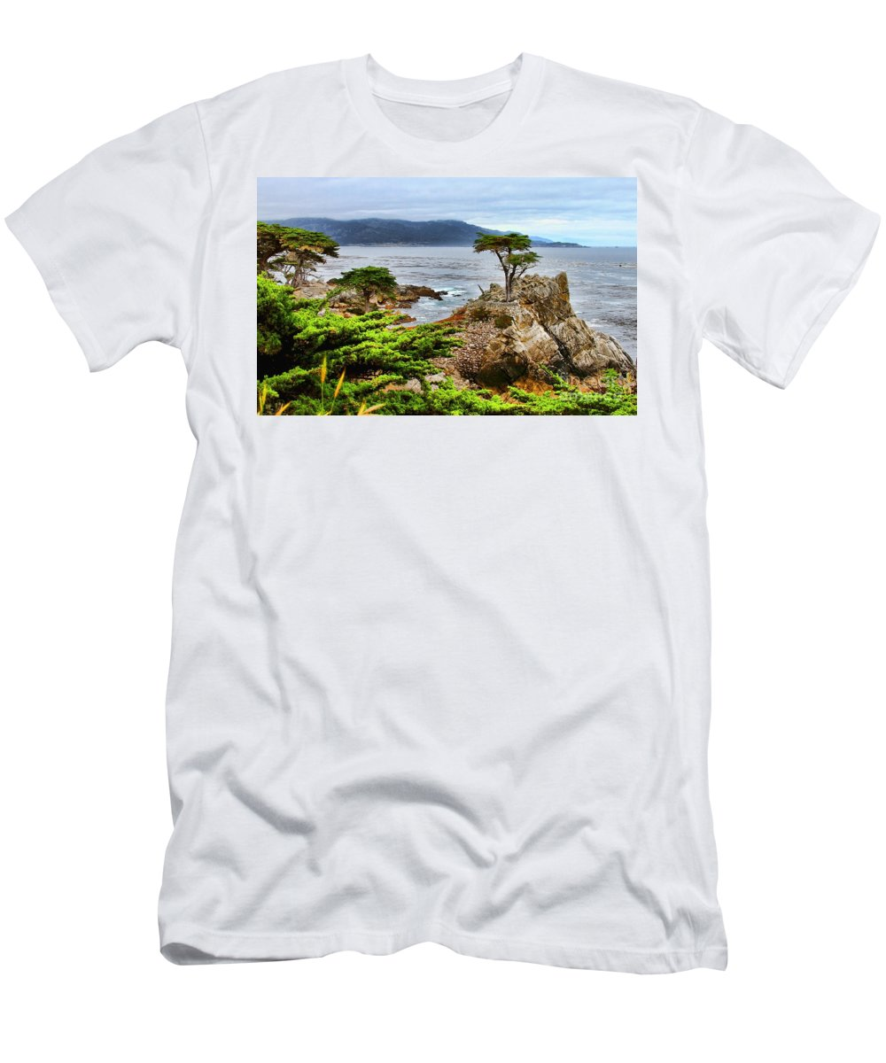 Lone Cypress Tree Men's T-Shirt (Athletic Fit) featuring the photograph Lone Cypress By Diana Sainz by Diana Raquel Sainz