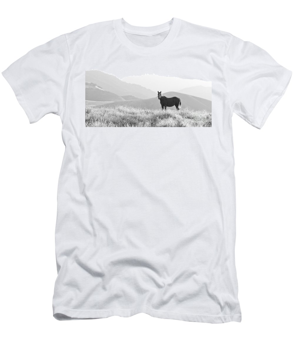 Lone Horse Men's T-Shirt (Athletic Fit) featuring the photograph Lone Horse by B Christopher
