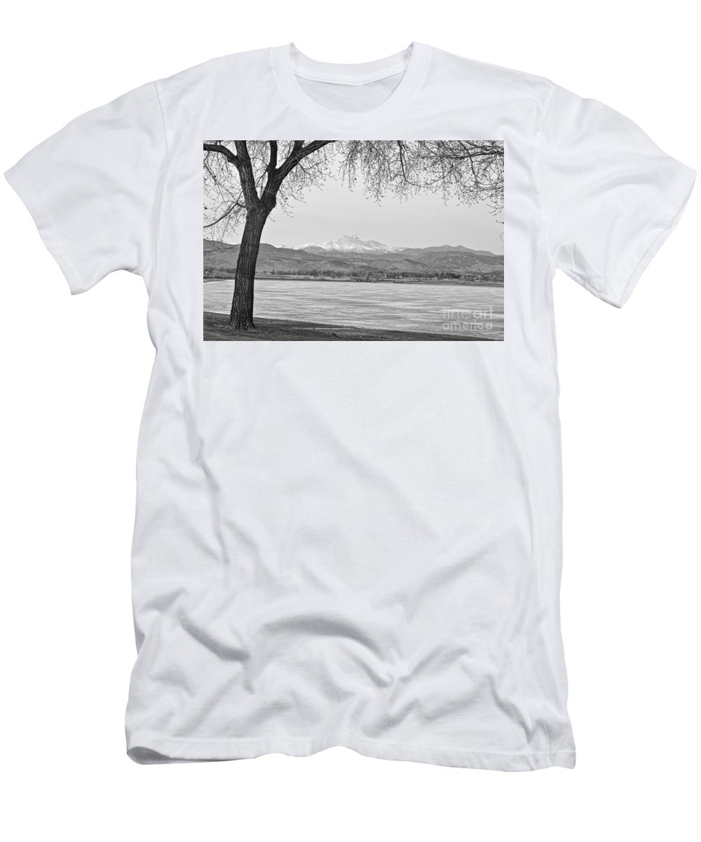 'longs Peak' Men's T-Shirt (Athletic Fit) featuring the photograph Longs Peak Winter View In Black And White by James BO Insogna