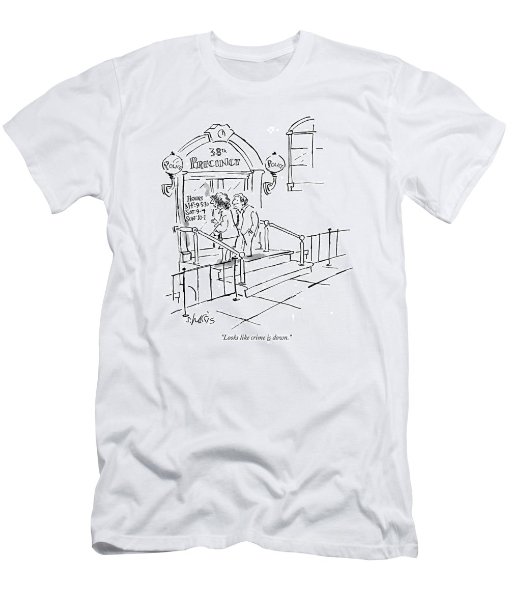 Police T-Shirt featuring the drawing Looks Like Crime Is Down by Sidney Harris