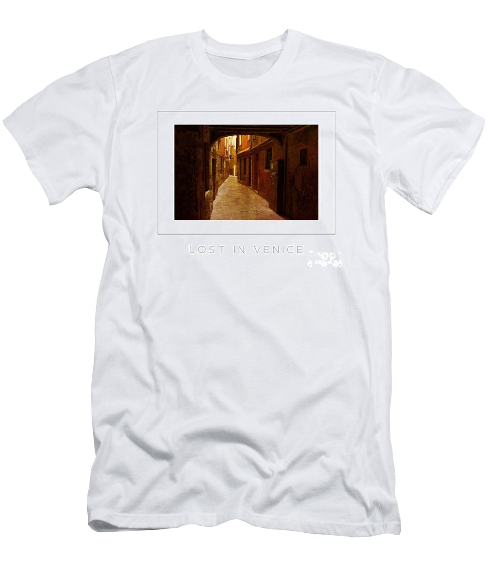 Alley Men's T-Shirt (Athletic Fit) featuring the photograph Lost In Venice Poster by Mike Nellums