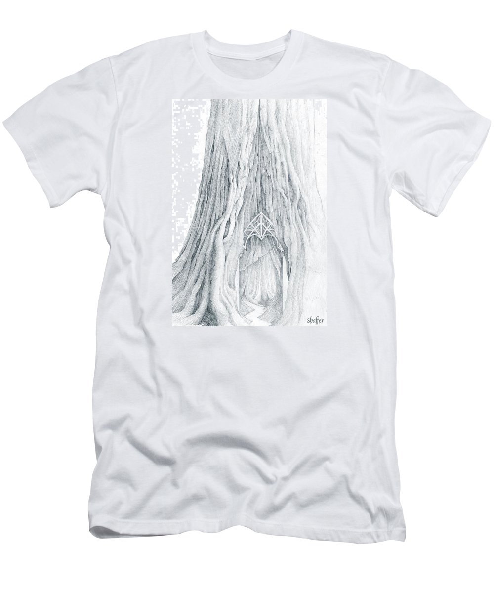 Lothlorien Men's T-Shirt (Athletic Fit) featuring the drawing Lothlorien Mallorn Tree by Curtiss Shaffer