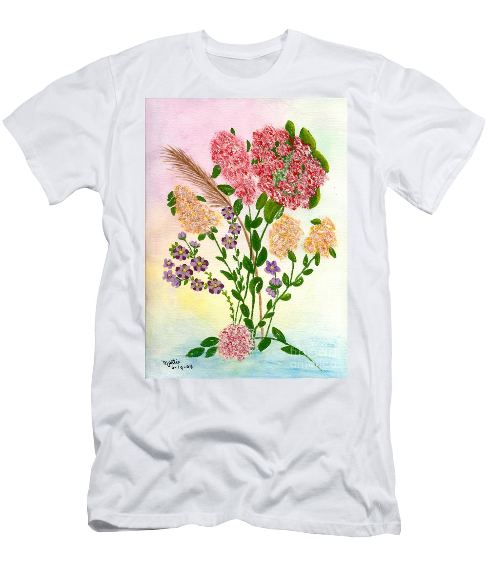 Watercolor Men's T-Shirt (Athletic Fit) featuring the painting Lots Of Flowers by Flamingo Graphix John Ellis