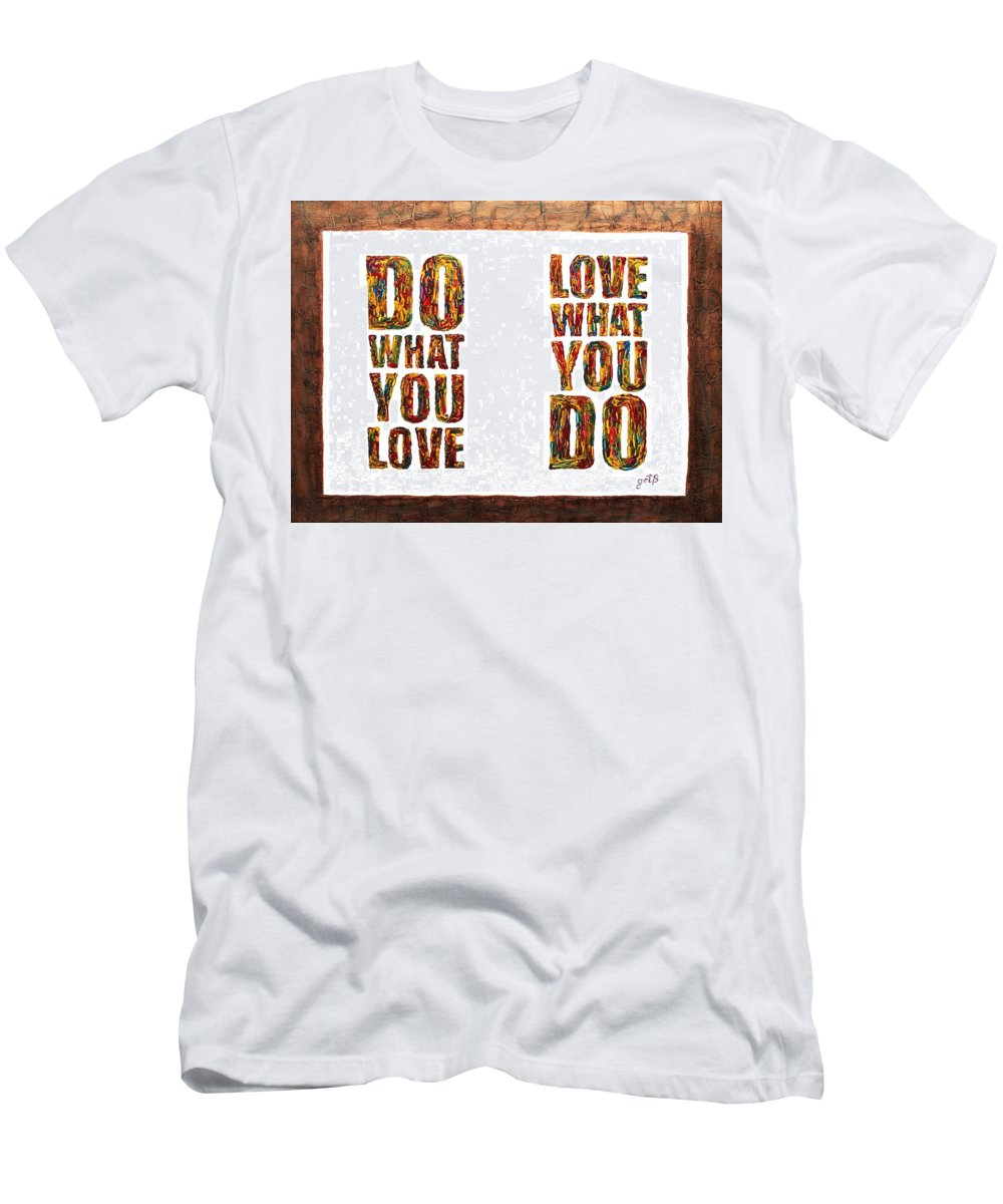 Wise Words Men's T-Shirt (Athletic Fit) featuring the painting Love In Life Acrylic Palette Knife Painting by Georgeta Blanaru