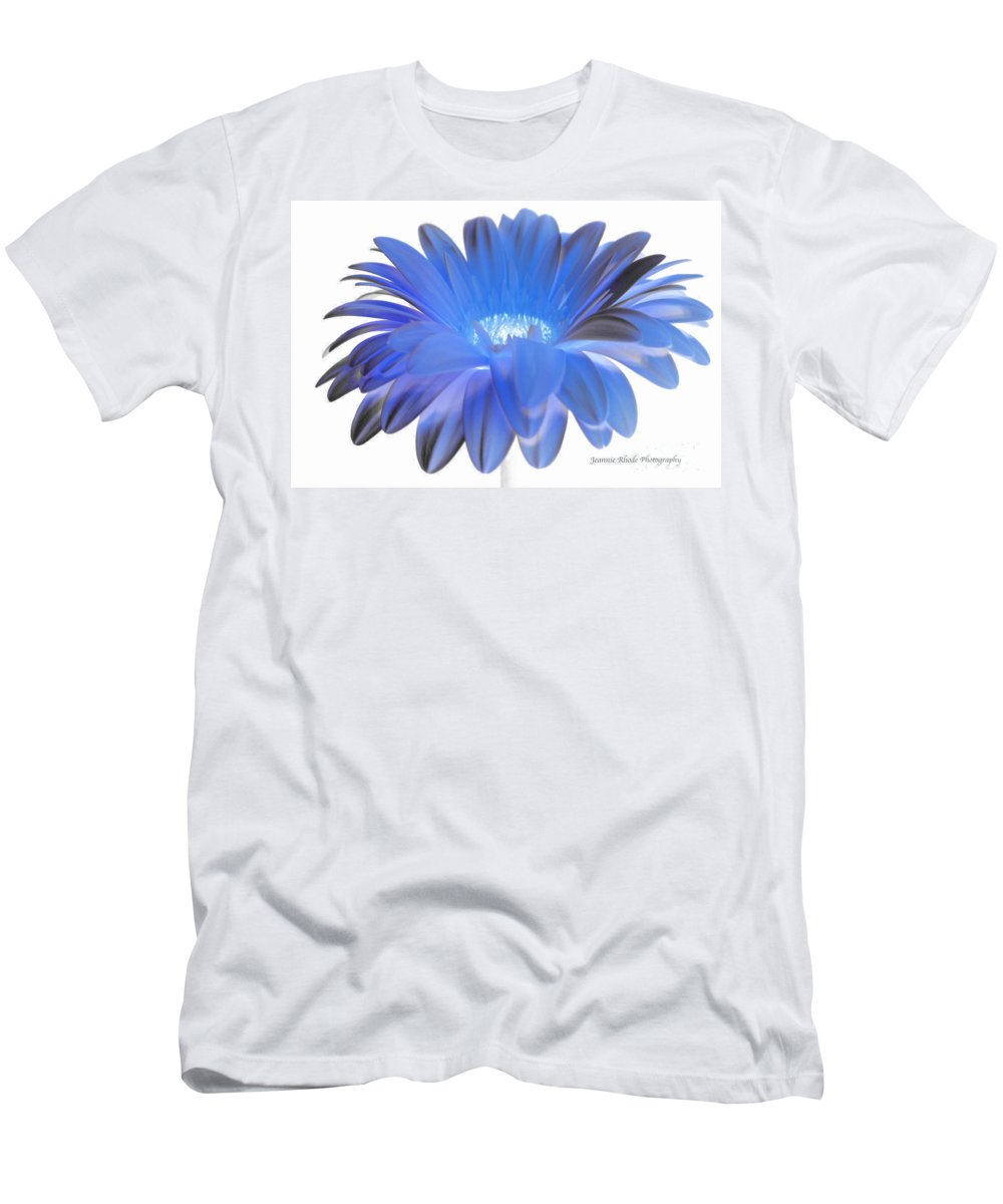 Blue Gerbera Daisy Men's T-Shirt (Athletic Fit) featuring the digital art Love Is A Gift by Jeannie Rhode