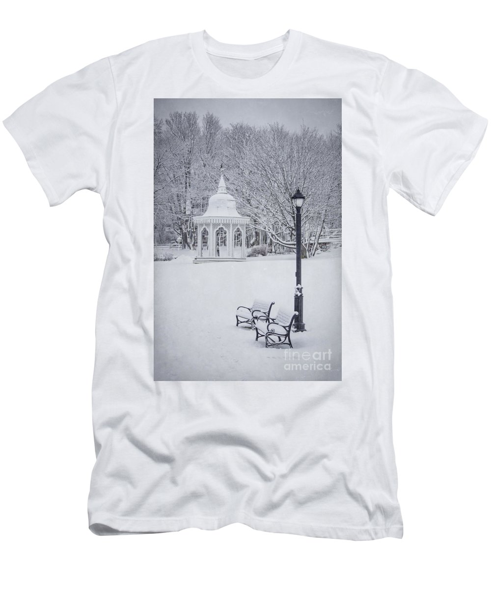 Bar Harbor Men's T-Shirt (Athletic Fit) featuring the photograph Love Through The Winter by Evelina Kremsdorf