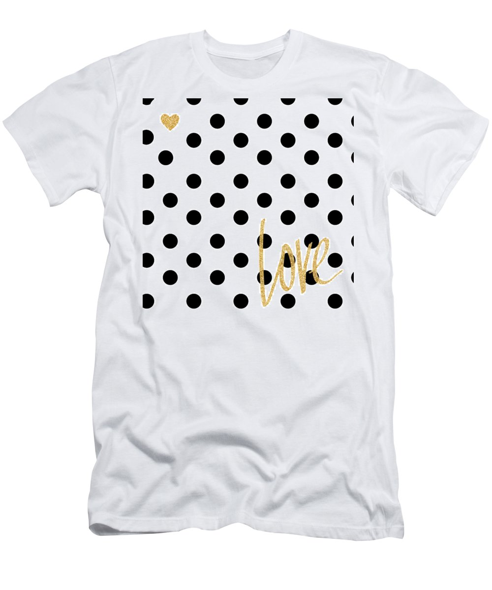 Love T-Shirt featuring the digital art Love With Dots by South Social Studio