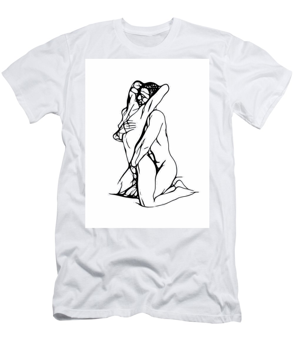Men's T-Shirt (Athletic Fit) featuring the painting Lovers Expressionism by Steve K