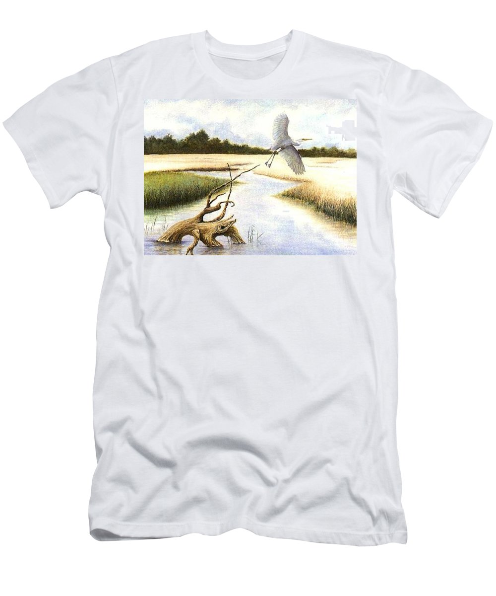 Egret Men's T-Shirt (Athletic Fit) featuring the painting Low Country Marsh by Ben Kiger