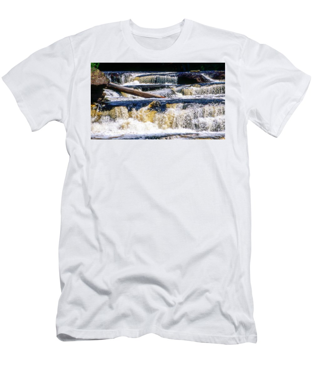 Tahquamenon Men's T-Shirt (Athletic Fit) featuring the photograph Lower Tequamenon Falls by Optical Playground By MP Ray