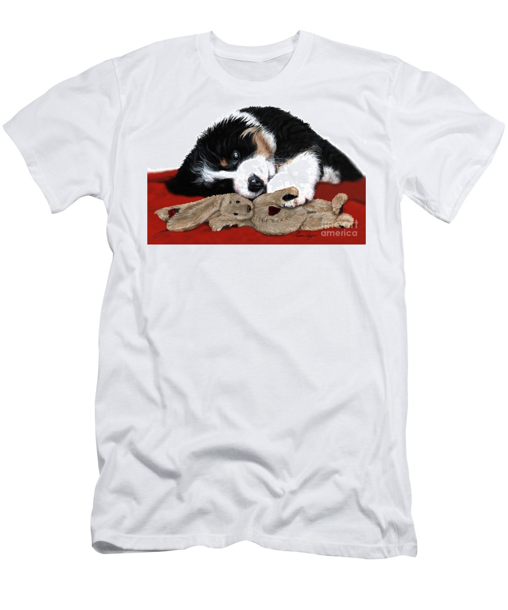 Bernese Mountain Dog Men's T-Shirt (Athletic Fit) featuring the painting Lullaby Berner And Bunny by Liane Weyers