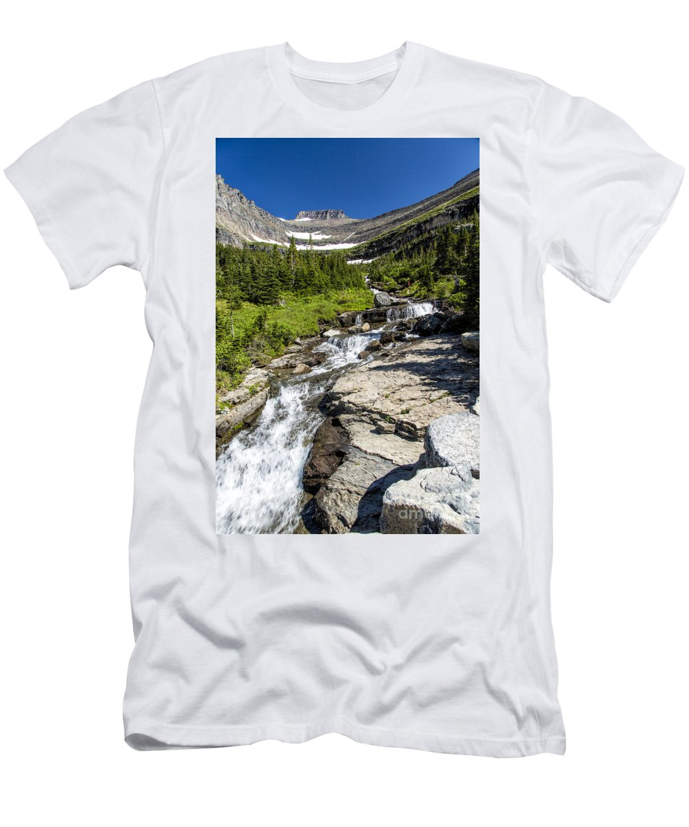 Glacier Men's T-Shirt (Athletic Fit) featuring the photograph Lunch Creek by Timothy Hacker