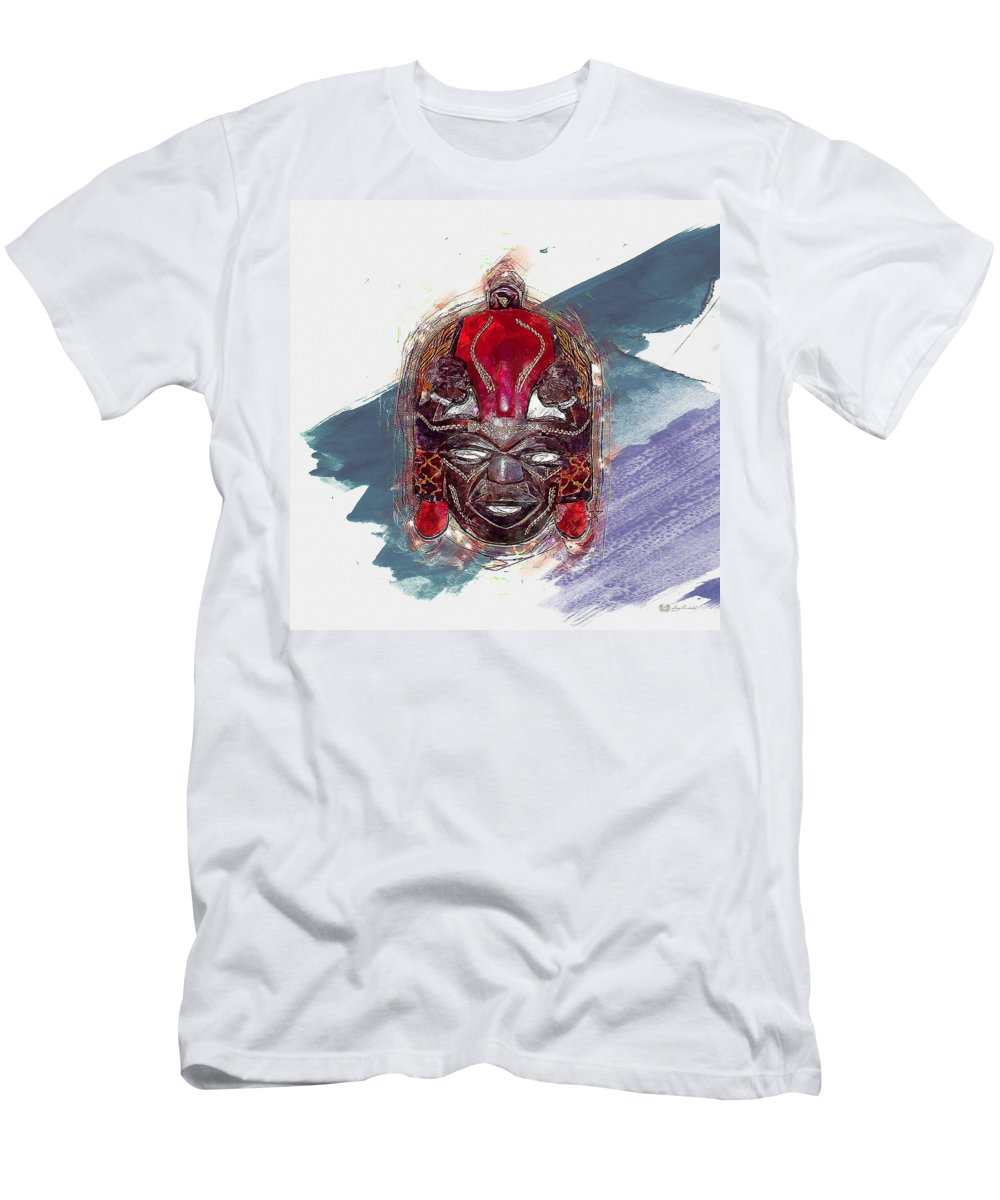'treasures Of Africa' Collection By Serge Averbukh Men's T-Shirt (Athletic Fit) featuring the digital art Maasai Mask - The Rain God Ngai by Serge Averbukh