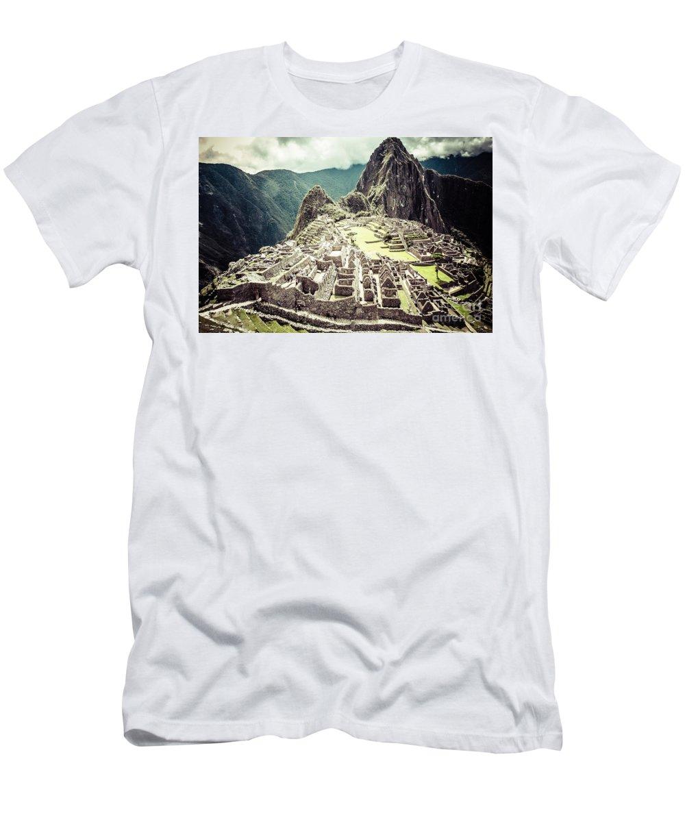 Picchu Men's T-Shirt (Athletic Fit) featuring the photograph Machu Picchu by Mariusz Prusaczyk