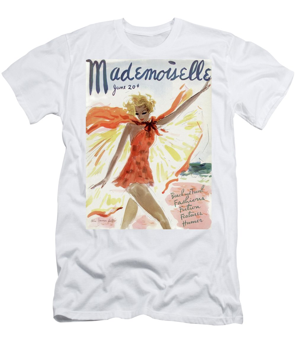 Illustration T-Shirt featuring the painting Mademoiselle Cover Featuring A Model At The Beach by Helen Jameson Hall