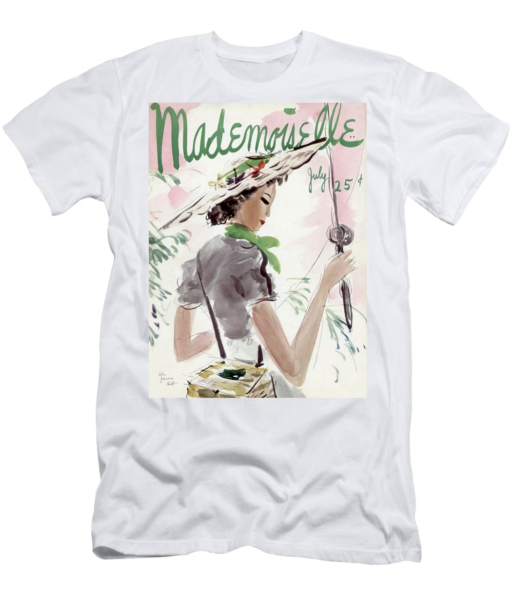 Illustration T-Shirt featuring the photograph Mademoiselle Cover Featuring A Woman Holding by Helen Jameson Hall