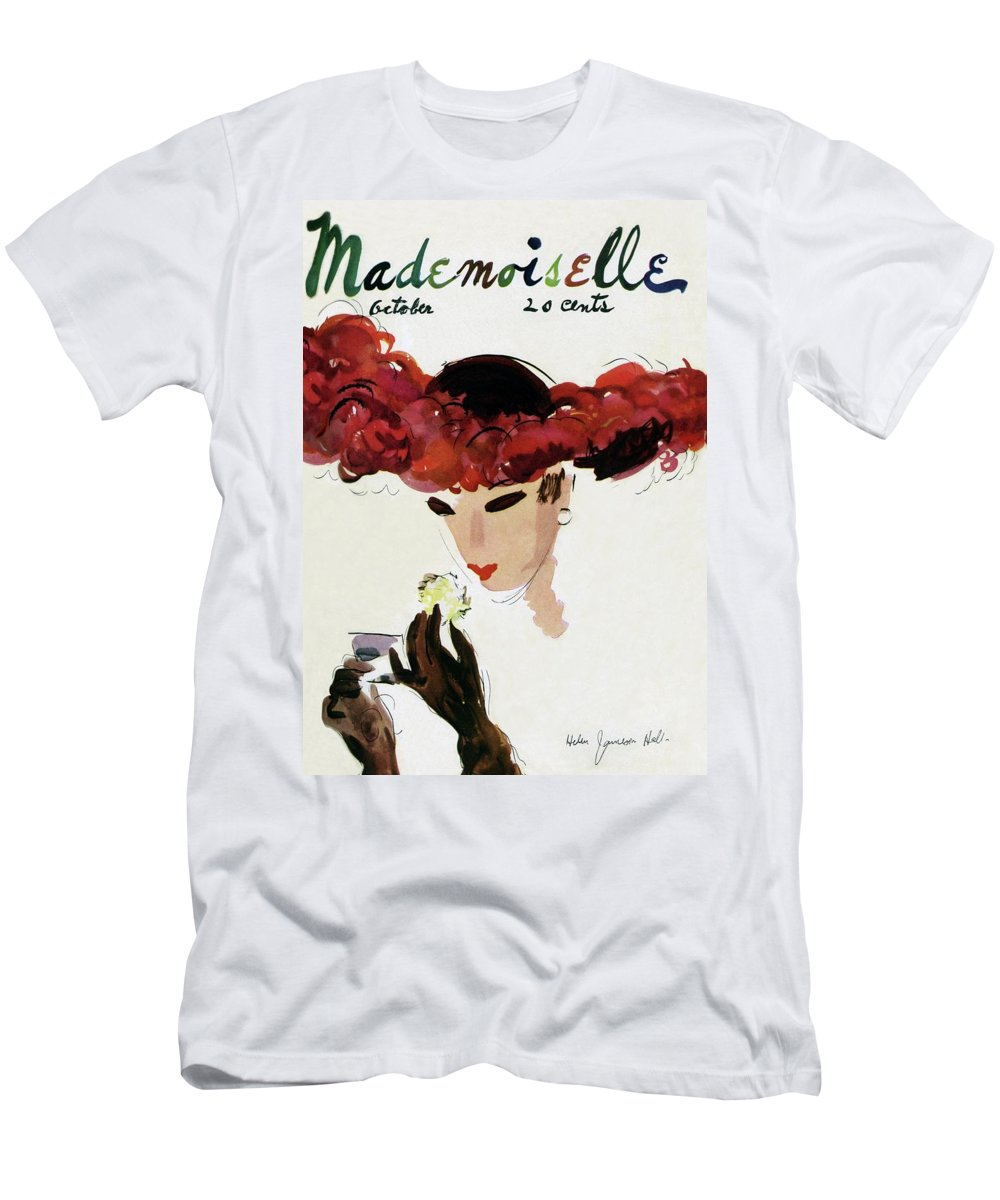 Illustration T-Shirt featuring the photograph Mademoiselle Cover Featuring A Woman In A Red by Helen Jameson Hall