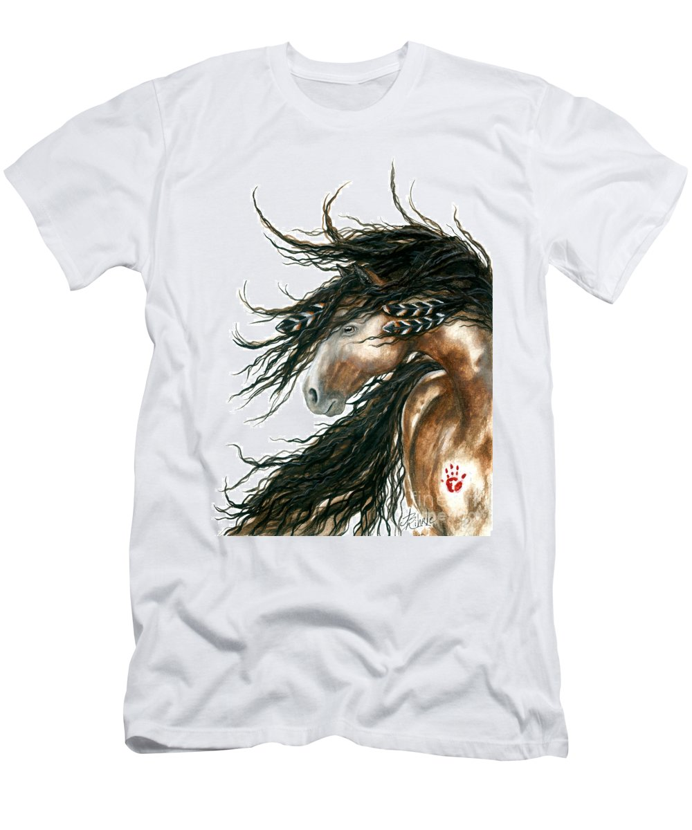 Horse T-Shirt featuring the painting Majestic Pinto Horse 80 by AmyLyn Bihrle