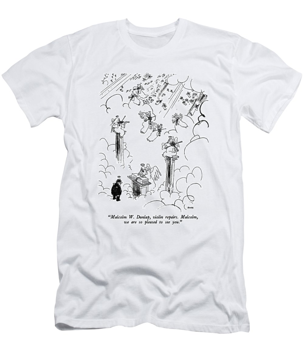 St. Peter To Man Entering Heaven T-Shirt featuring the drawing Malcolm W. Dunlap by George Booth