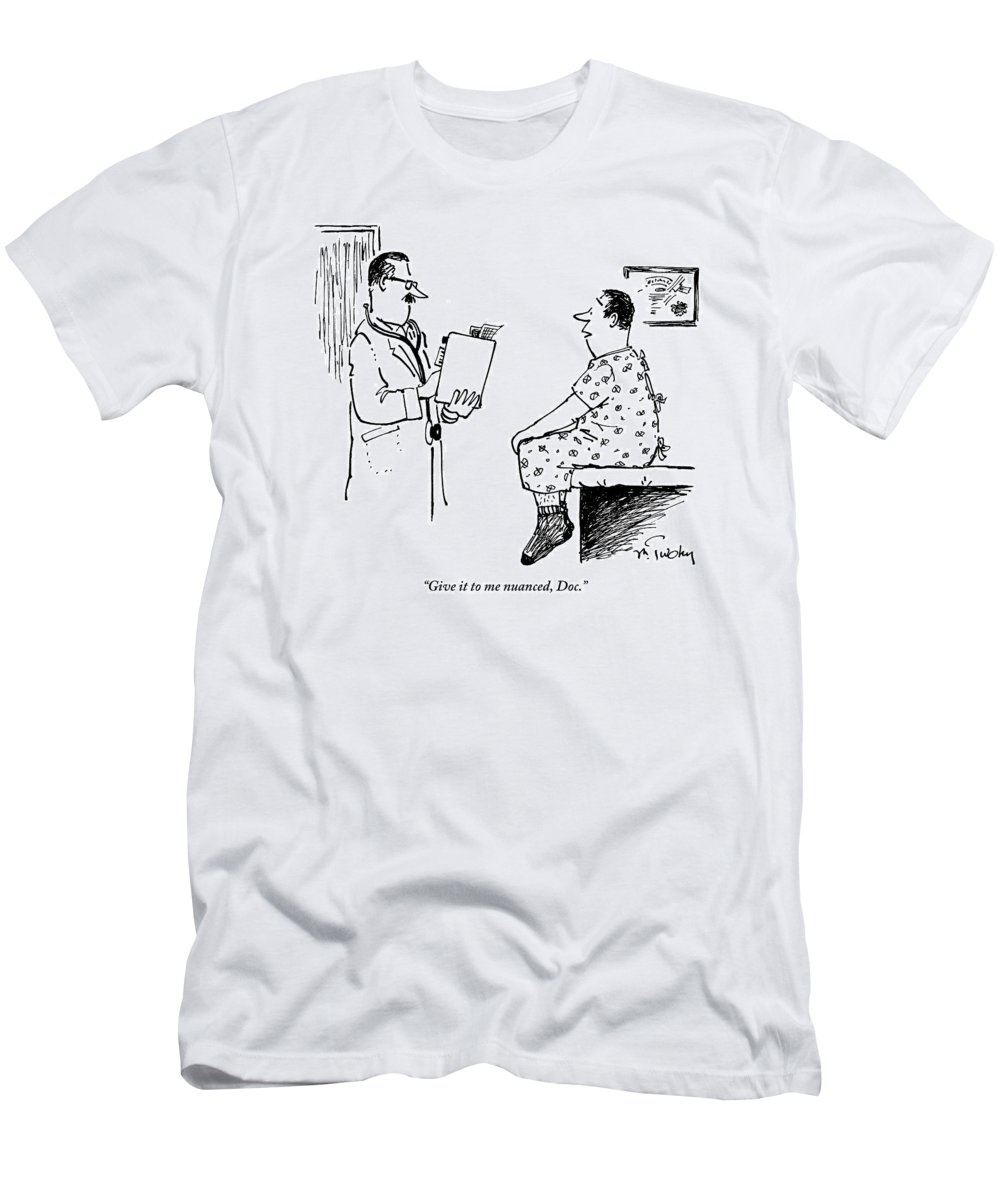Man In Hospital Gown Sitting On Exam Table Says T-Shirt for Sale by ...