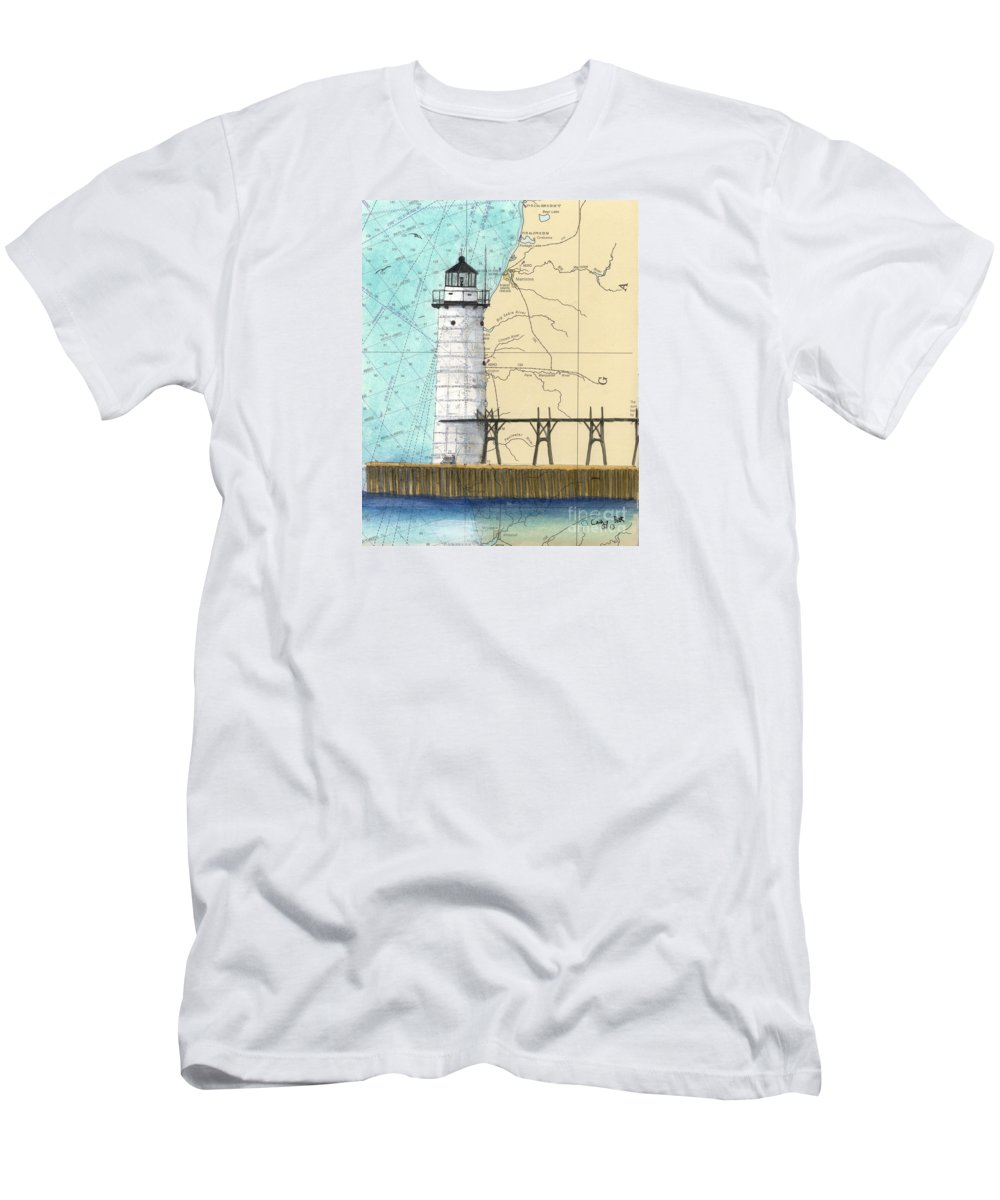 Manistee Men's T-Shirt (Athletic Fit) featuring the painting Manistee N Pierhead Lighthouse Mi Nautical Chart Map Art by Cathy Peek
