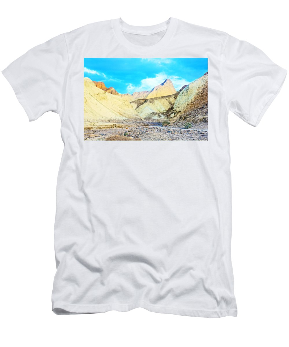 Manly Beacon From Golden Canyon In Death Valley National Park Men's T-Shirt (Athletic Fit) featuring the photograph Manly Beacon From Golden Canyon In Death Valley National Park-california by Ruth Hager