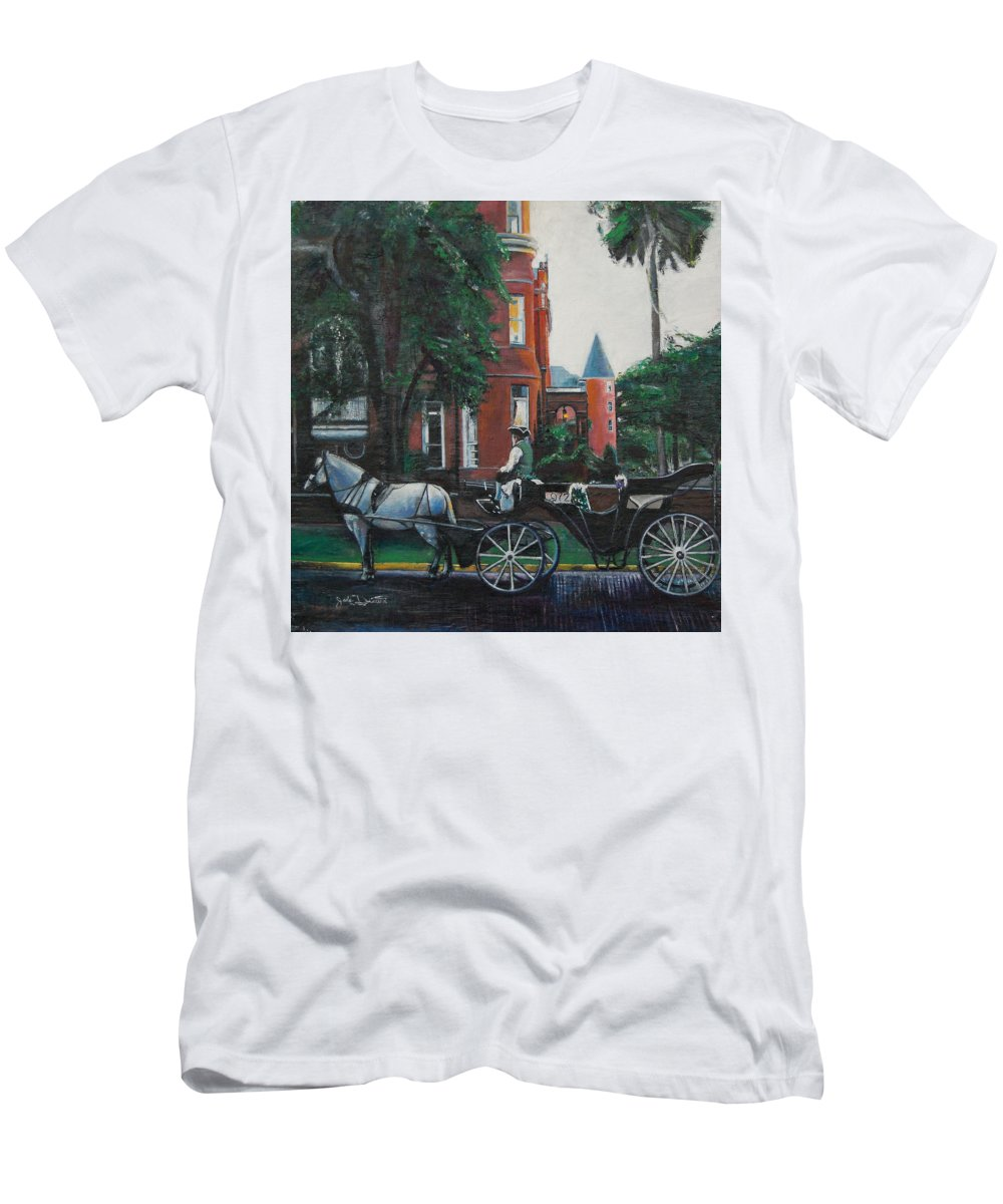 Men's T-Shirt (Athletic Fit) featuring the painting Mansion On Forsythe Savannah Georgia by Jude Darrien
