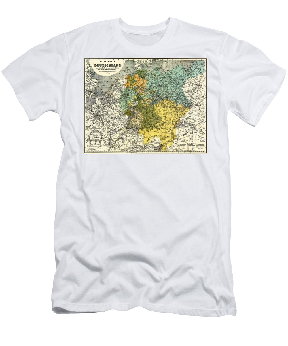 Map Men's T-Shirt (Athletic Fit) featuring the drawing Map Of Germany 1861 by Mountain Dreams