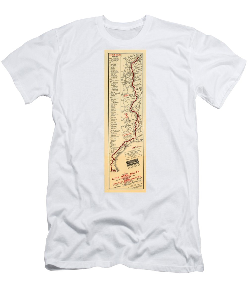 Map Men's T-Shirt (Athletic Fit) featuring the drawing Map Of The Lone Star Route 1922 by Mountain Dreams