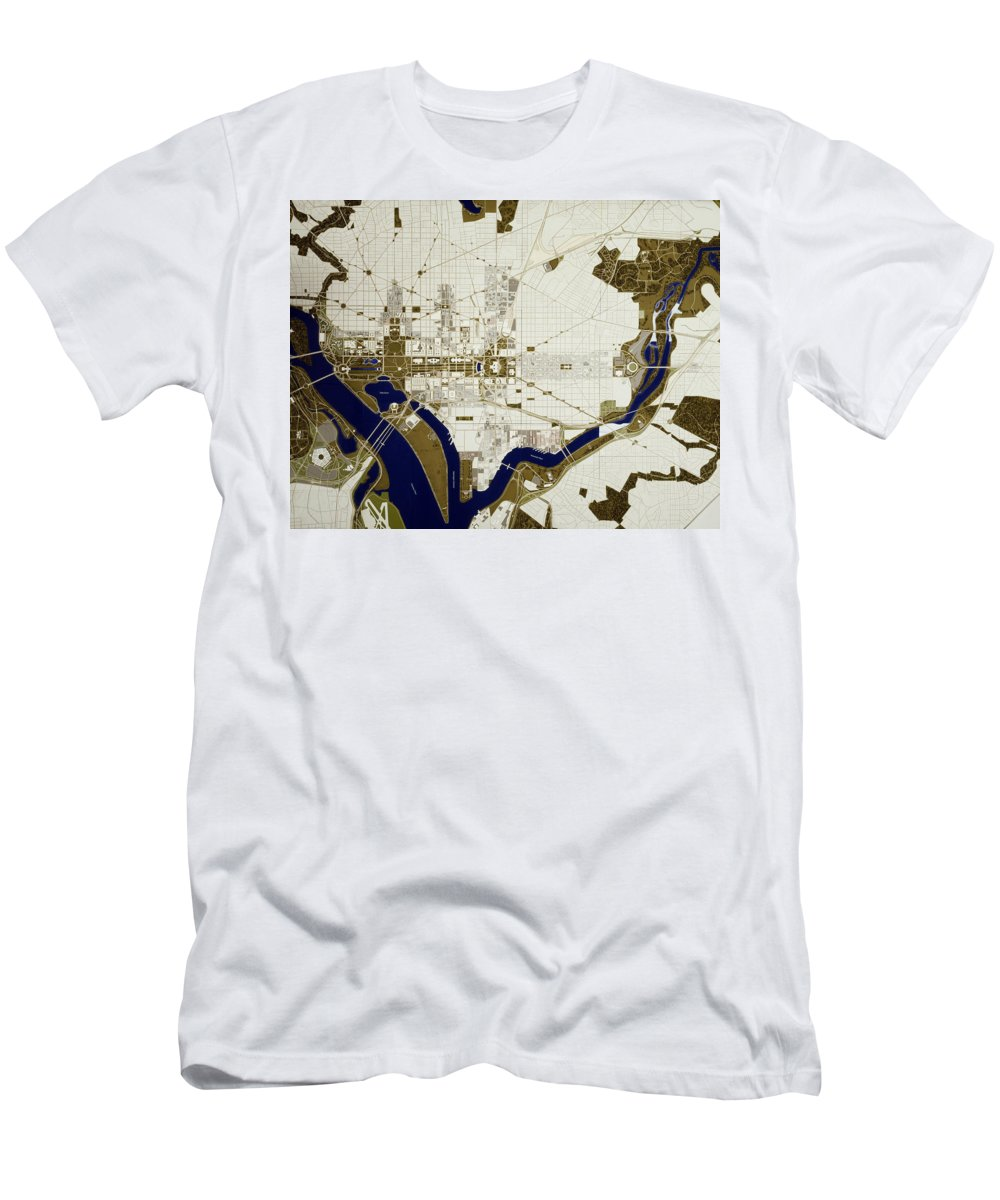 Map Men's T-Shirt (Athletic Fit) featuring the photograph Map Of Washington D.c. by Mountain Dreams