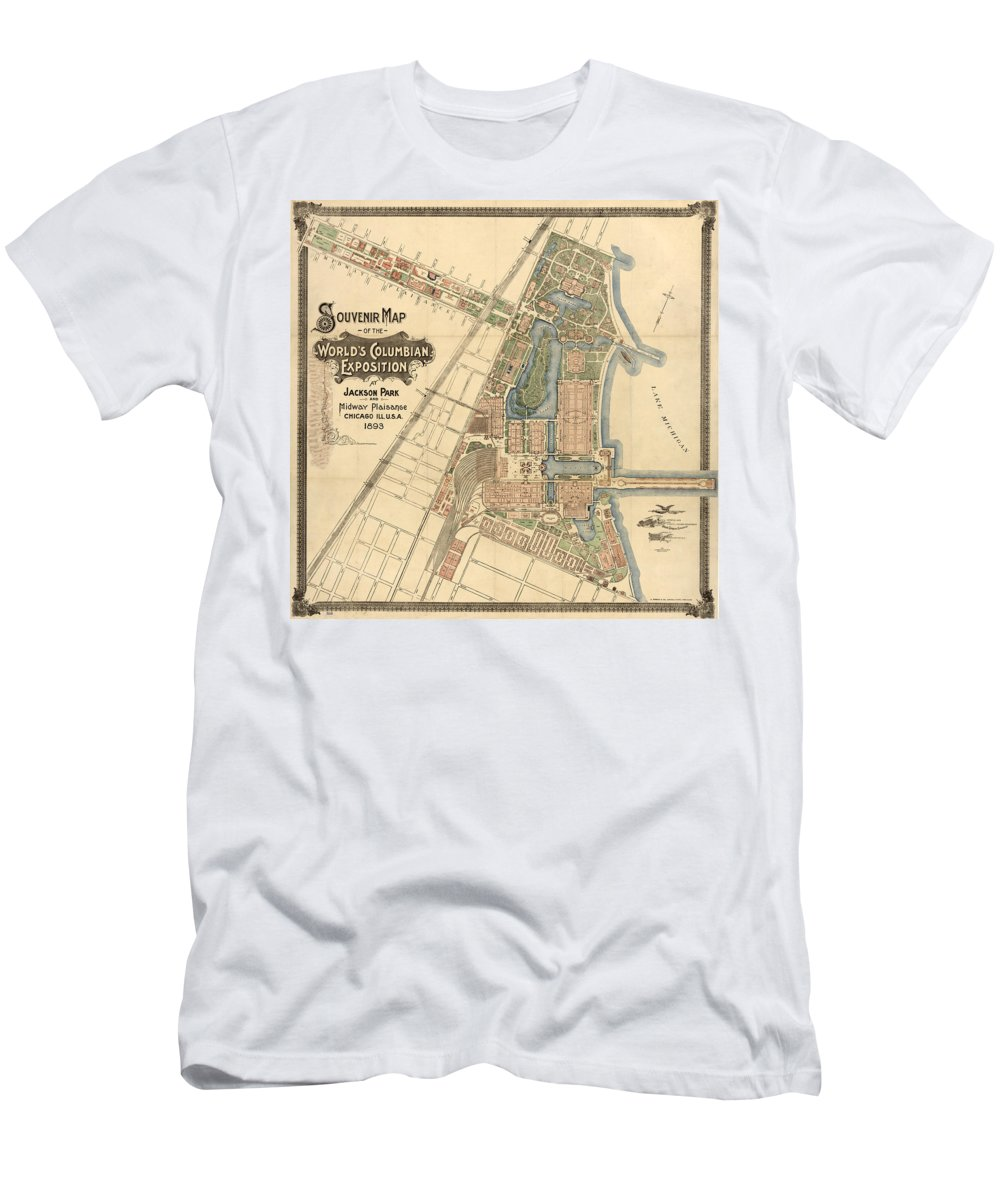 1893 Men's T-Shirt (Athletic Fit) featuring the photograph Map: Worlds Fair, 1893 by Granger