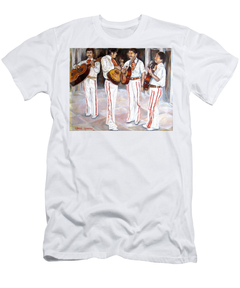 Mariachis T-Shirt featuring the painting Mariachi Musicians by Carole Spandau