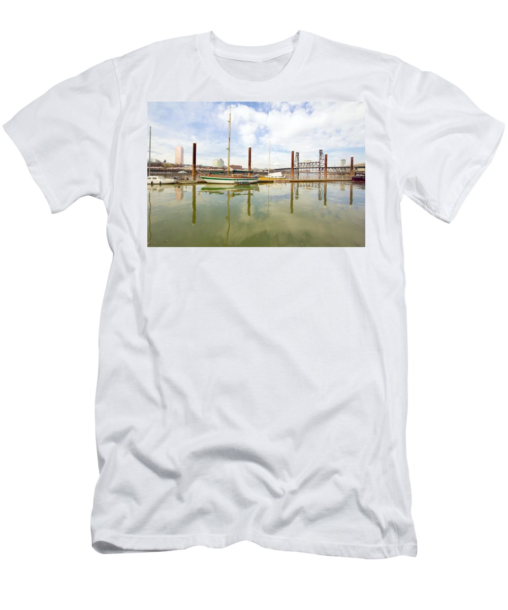 Marina Men's T-Shirt (Athletic Fit) featuring the photograph Marina Along Willamette River In Portland by Jit Lim
