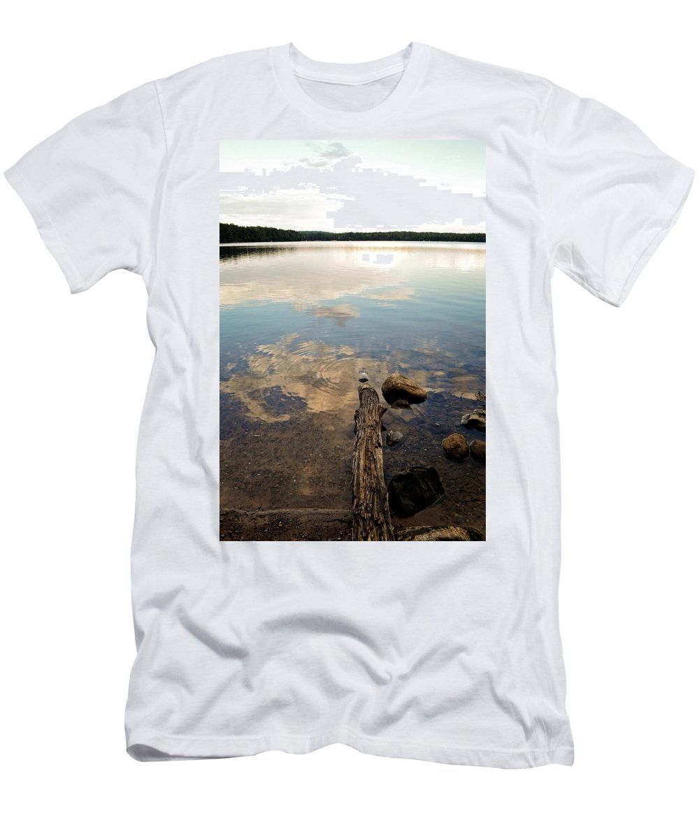 Landscapes Men's T-Shirt (Athletic Fit) featuring the photograph Marion Lake Reflections by Michelle Calkins