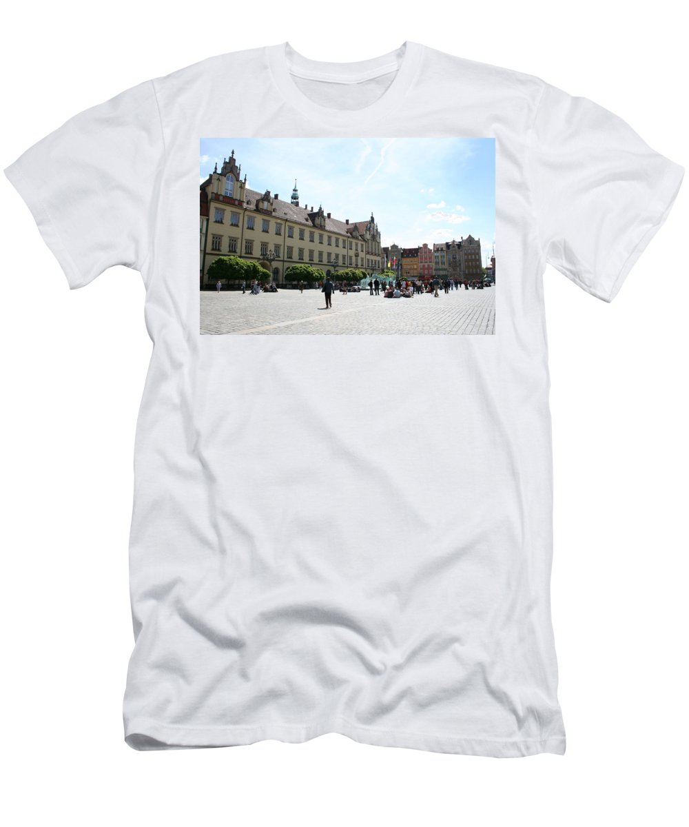 Market Place Men's T-Shirt (Athletic Fit) featuring the photograph Market Place Wroclaw by Christiane Schulze Art And Photography