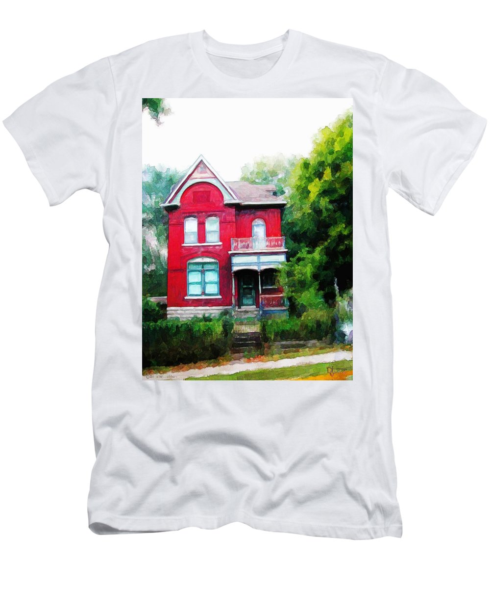 Victorian Men's T-Shirt (Athletic Fit) featuring the painting Market Street by Dave Luebbert