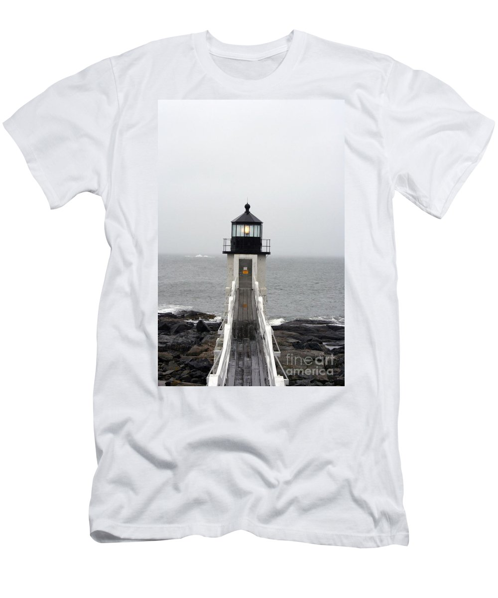 Lighthouse Men's T-Shirt (Athletic Fit) featuring the photograph Marshall Point Light On A Foggy Day by Christiane Schulze Art And Photography