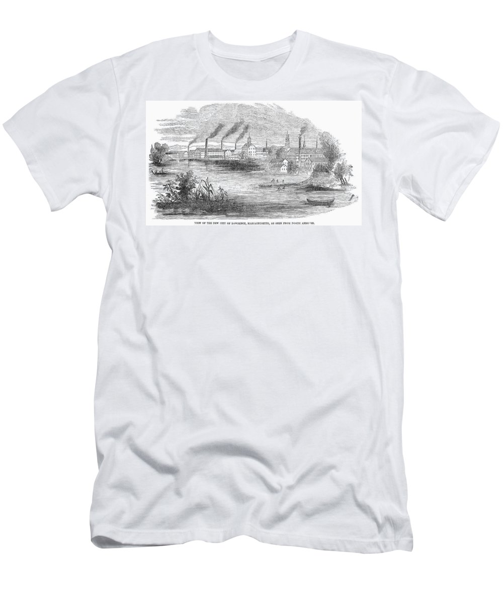19th Century Men's T-Shirt (Athletic Fit) featuring the painting Massachusetts Lawrence by Granger