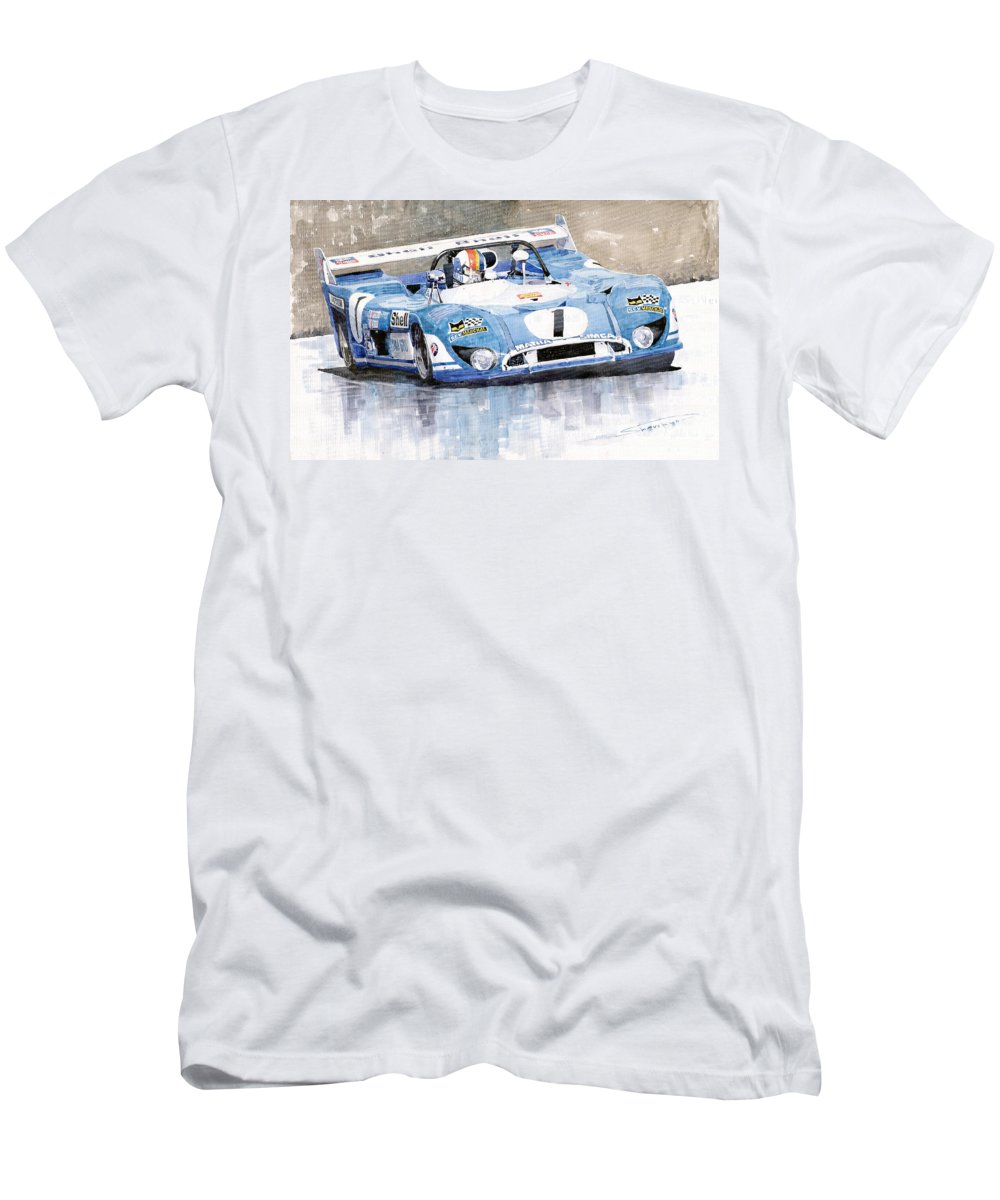 Watercolor Men's T-Shirt (Athletic Fit) featuring the painting 1973 Matra Simca 670b Francois Cevert by Yuriy Shevchuk