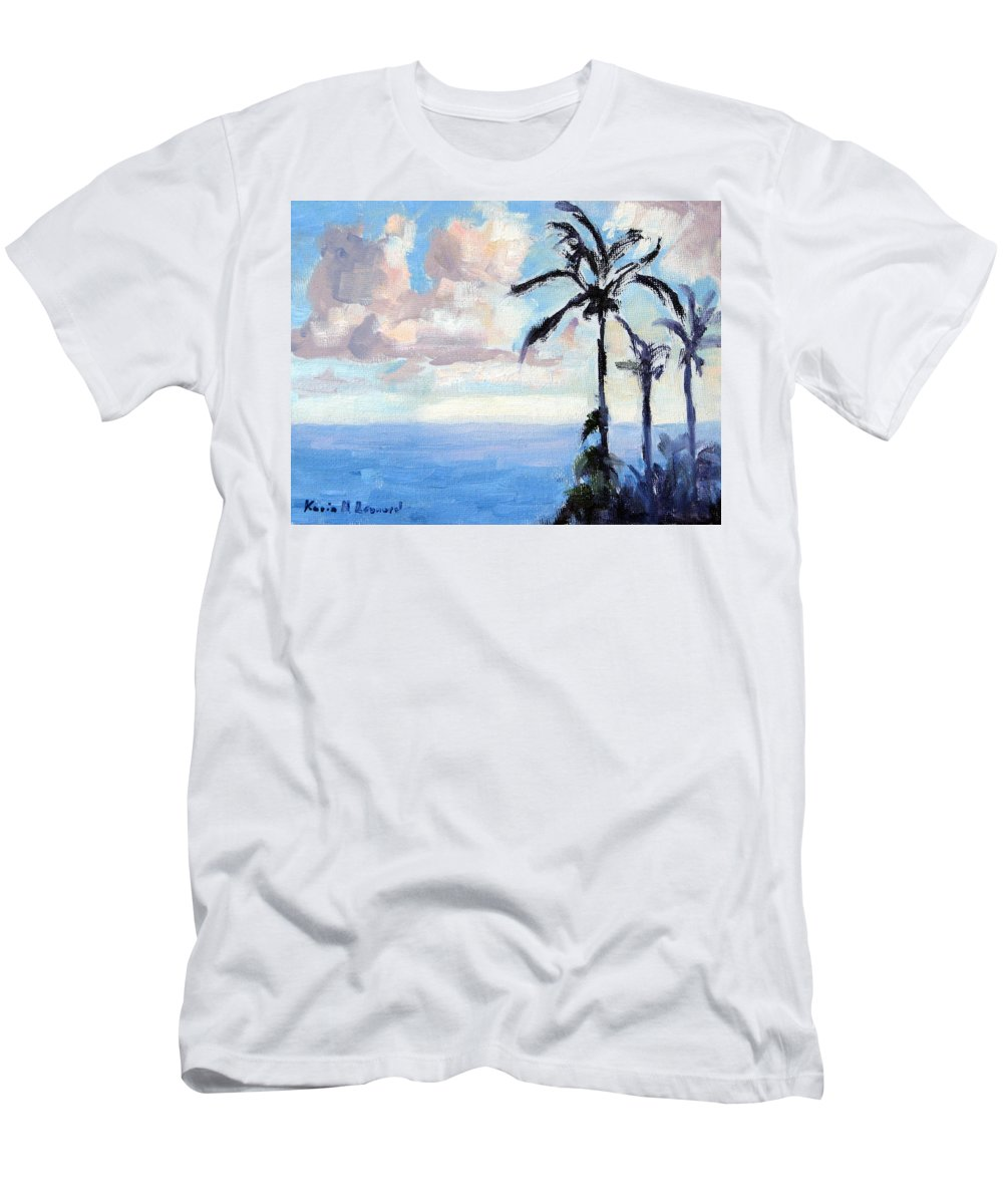 Hawaii Men's T-Shirt (Athletic Fit) featuring the painting Maui Palms by Karin Leonard