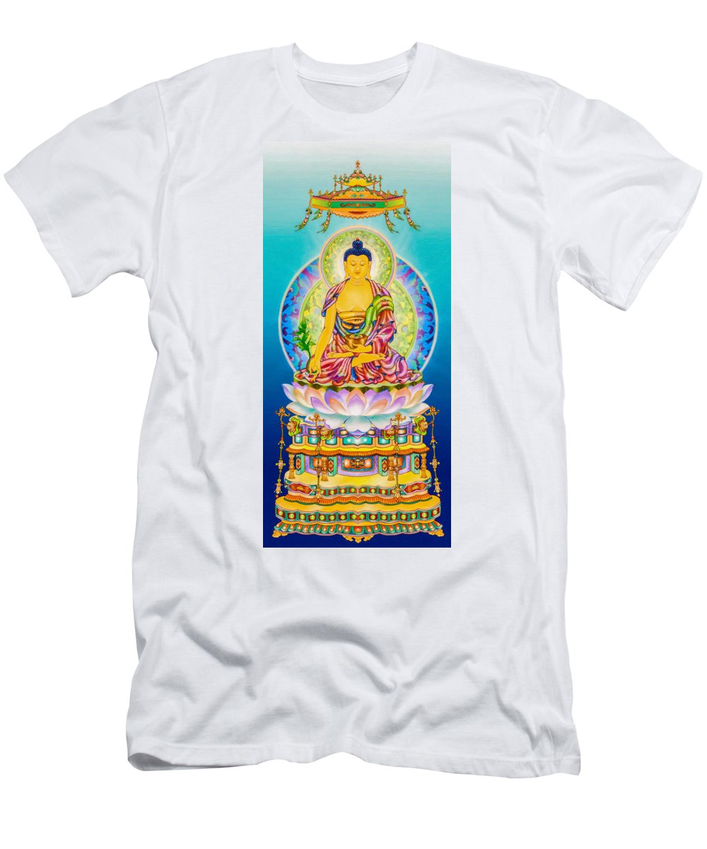 The Pharmacist Glass Light Tathagata Men's T-Shirt (Athletic Fit) featuring the photograph Medicine Buddha 7 by Jeelan Clark