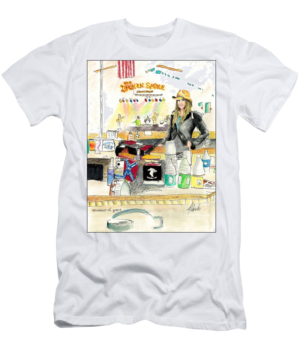 Bartender Men's T-Shirt (Athletic Fit) featuring the painting Meghan At The Broken Spoke Saloon by Albert Puskaric