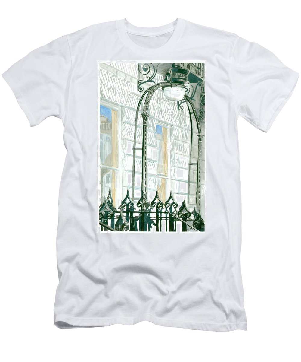 Scotland Men's T-Shirt (Athletic Fit) featuring the painting Mellvile Street Doorway by Iain Galloway