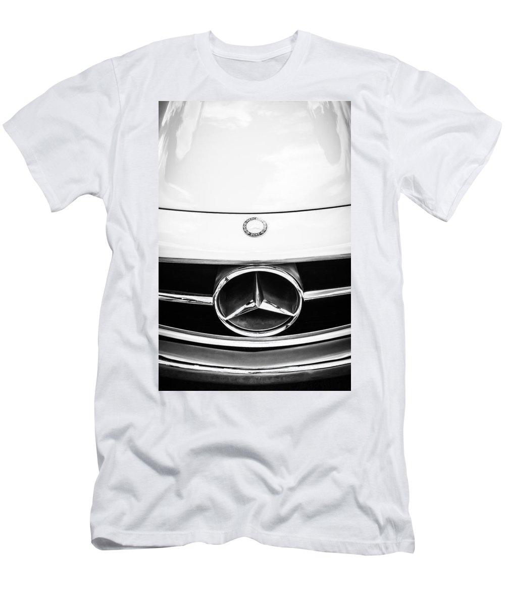 Mercedes-benz Grille Emblem Men's T-Shirt (Athletic Fit) featuring the photograph Mercedes-benz Grille Emblem -0230bw by Jill Reger