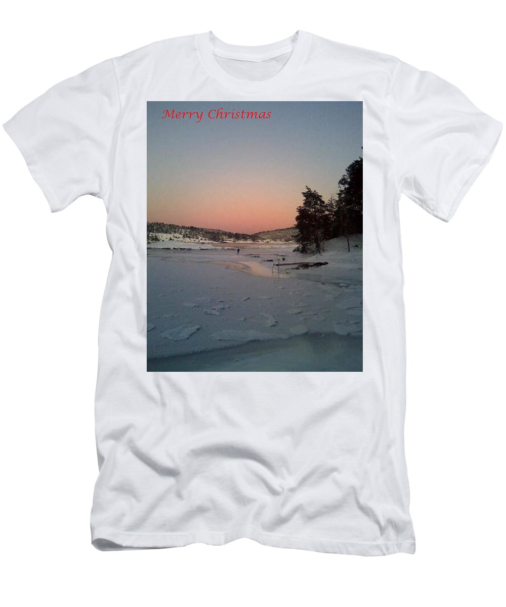 Christmas Men's T-Shirt (Athletic Fit) featuring the photograph A Christmas Card From The Wintry Sea by Hilde Widerberg