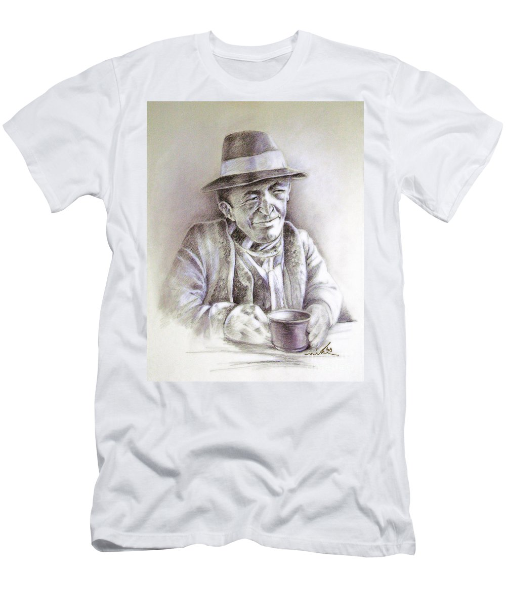 Portrait Michael Anderson T-Shirt featuring the painting Michael J Anderson by Miki De Goodaboom