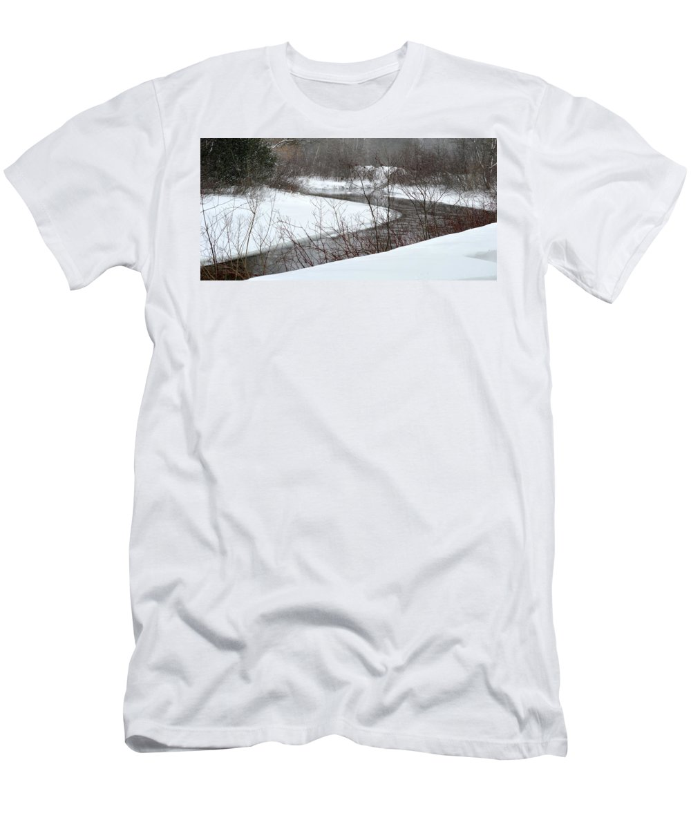 Stream Men's T-Shirt (Athletic Fit) featuring the photograph Michigan Stream by Linda Kerkau