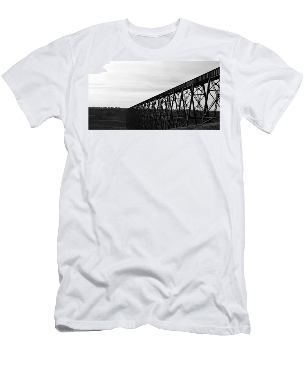 Train Tracks Men's T-Shirt (Athletic Fit) featuring the photograph Midday Tracks by Stephanie Bland