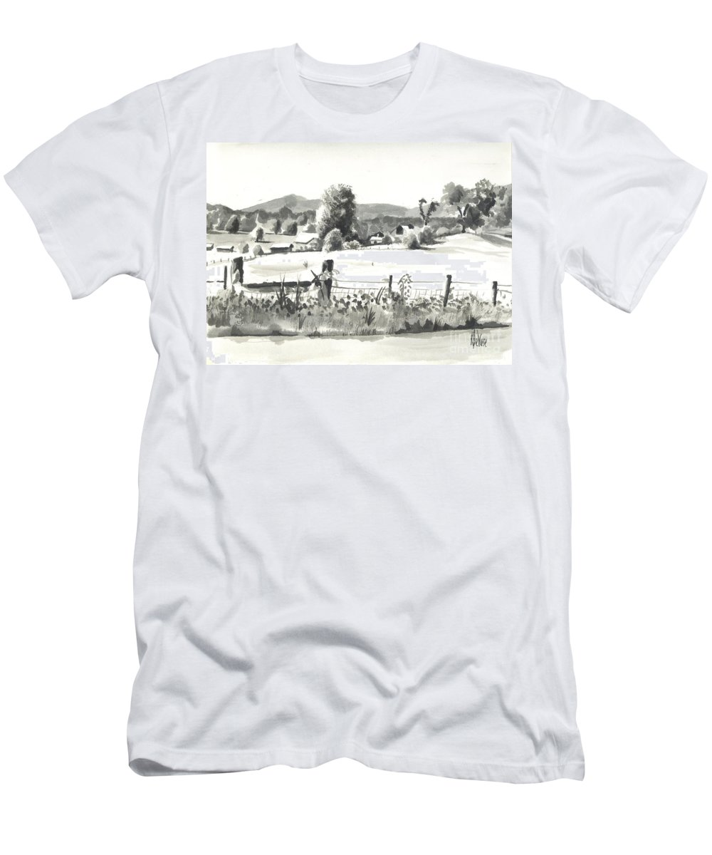 Midsummer View Out Route Jj  No I101 Men's T-Shirt (Athletic Fit) featuring the painting Midsummer View Out Route Jj  No I101 by Kip DeVore